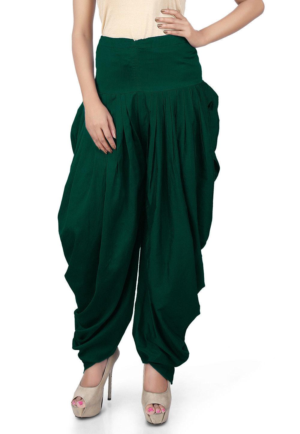 Solid Color Cotton Silk Salwars in Dark Green