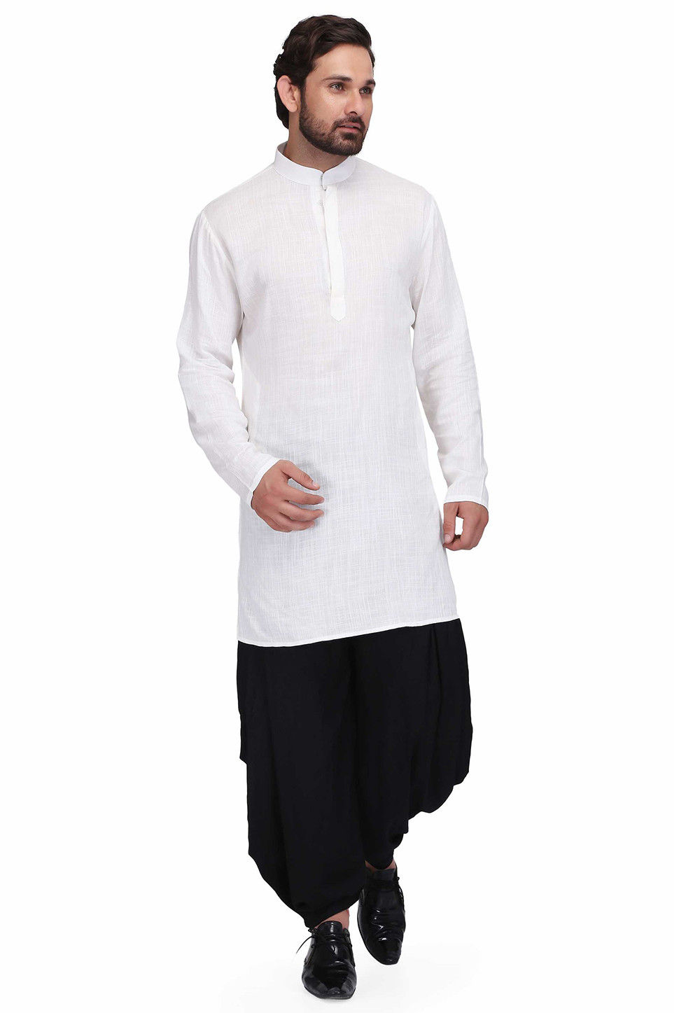 Solid Color Cotton Slub Kurta Set in White