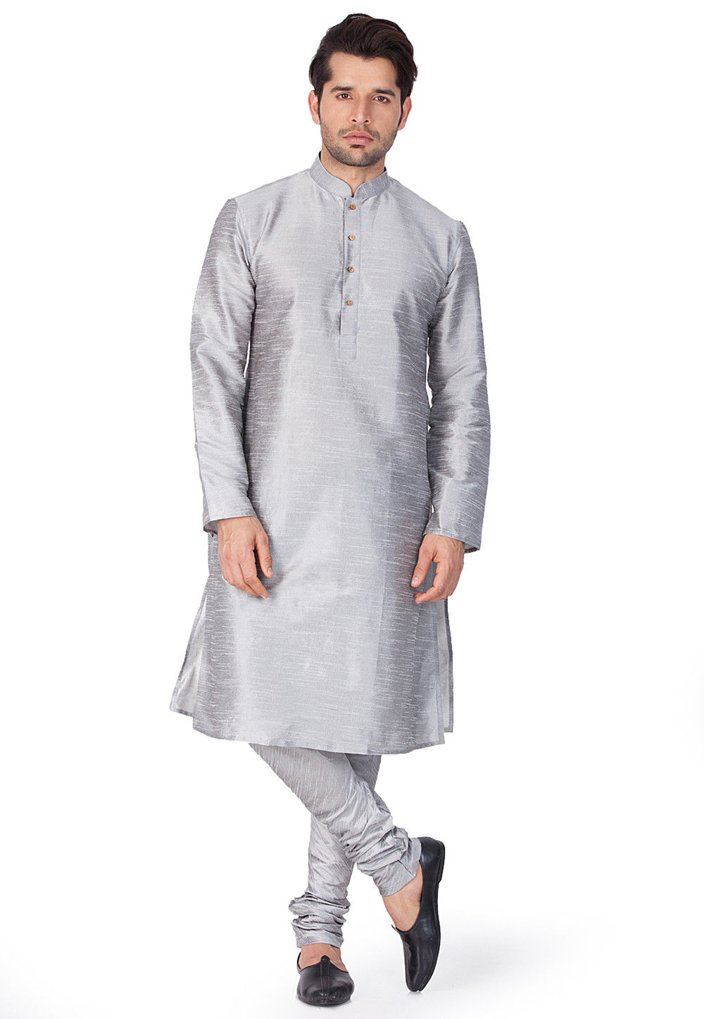 Solid Color Dupion Silk Kurta Set in Grey