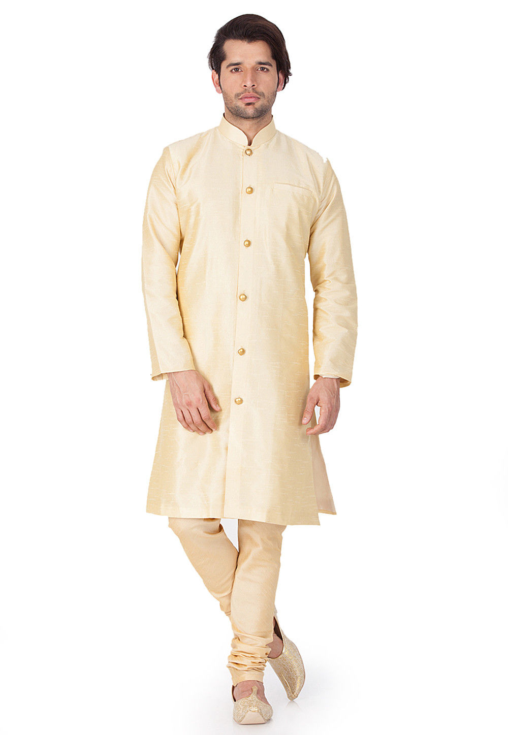 Solid Color Dupion Silk Kurta Set in Light Beige