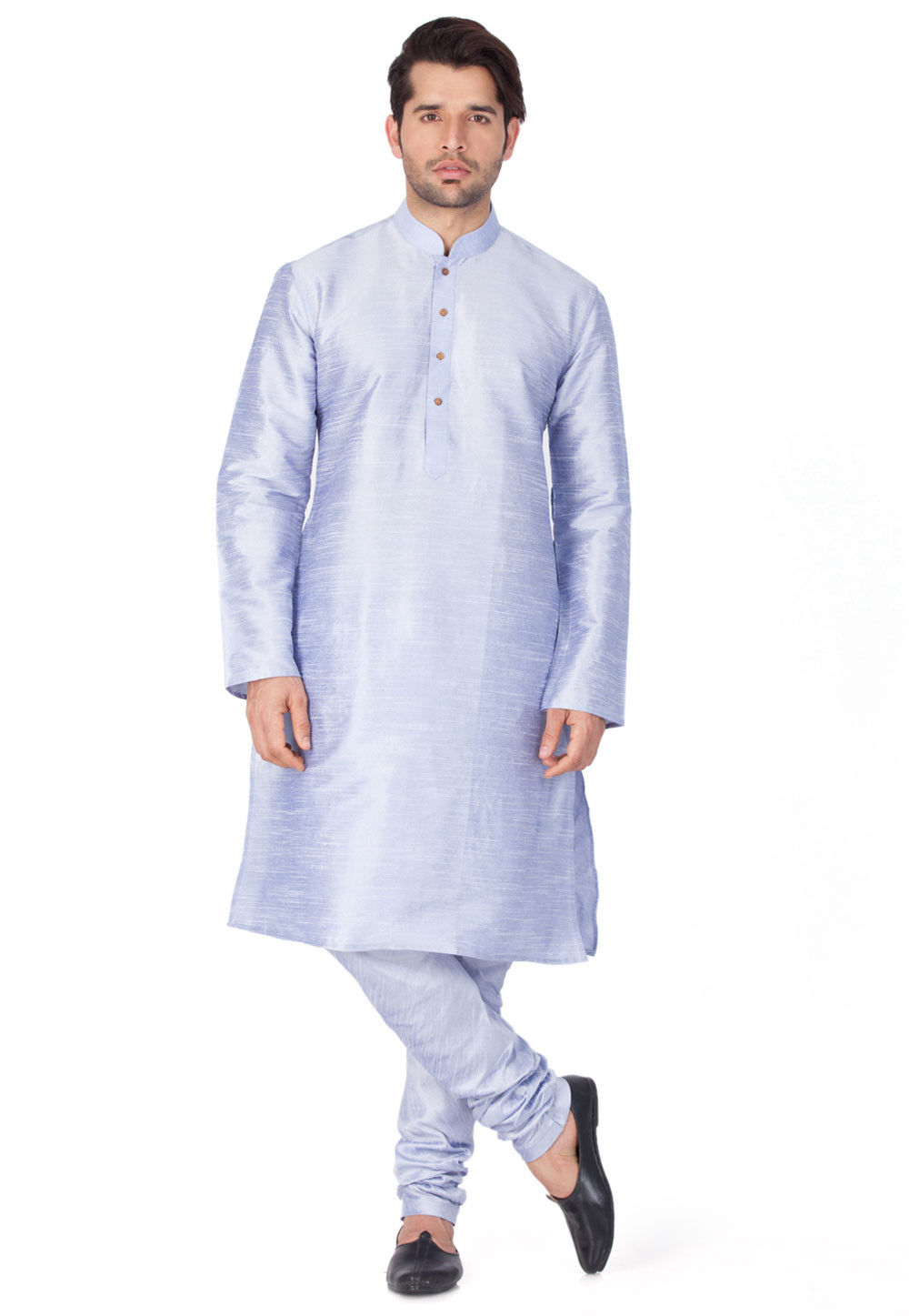Solid Color Dupion Silk Kurta Set in Light Purple