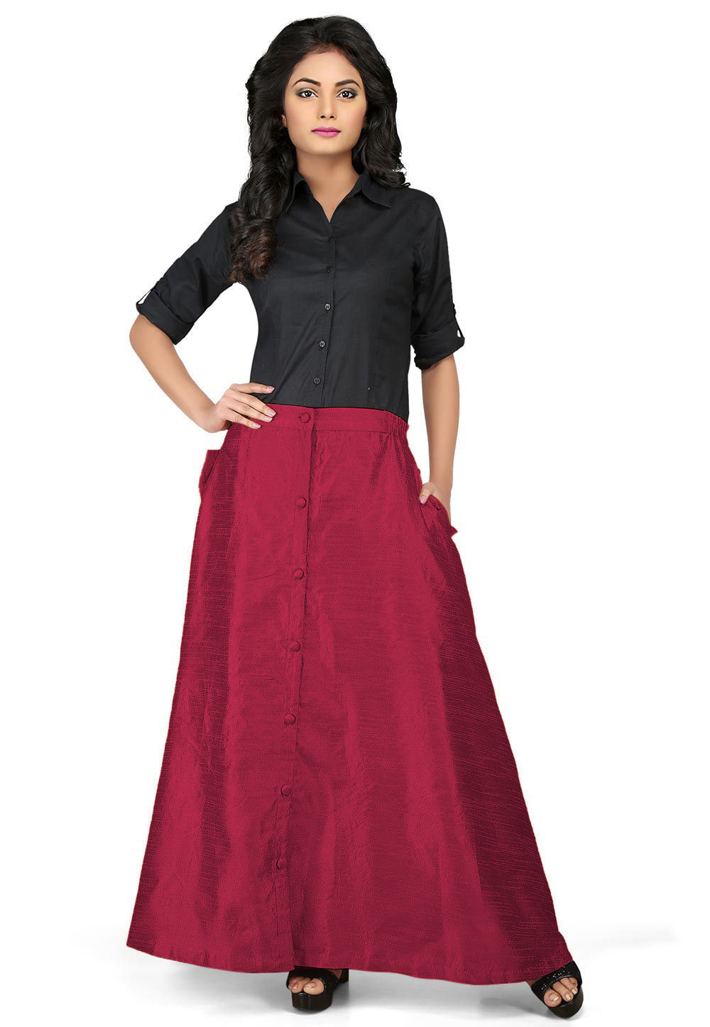 Solid Color Dupion Silk Long Skirt in Magenta