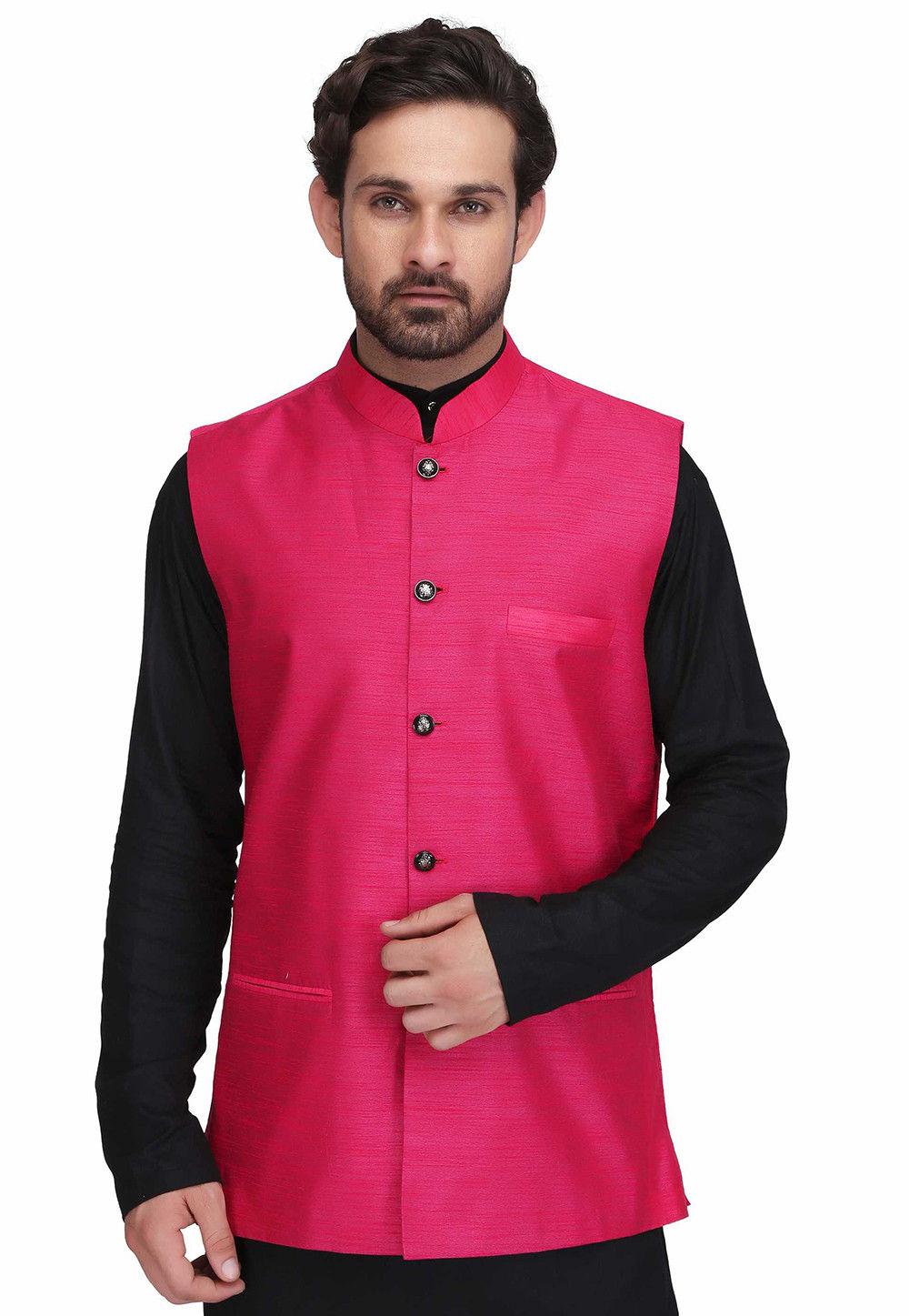 Solid Color Dupion Silk Nehru Jacket in Fuchsia