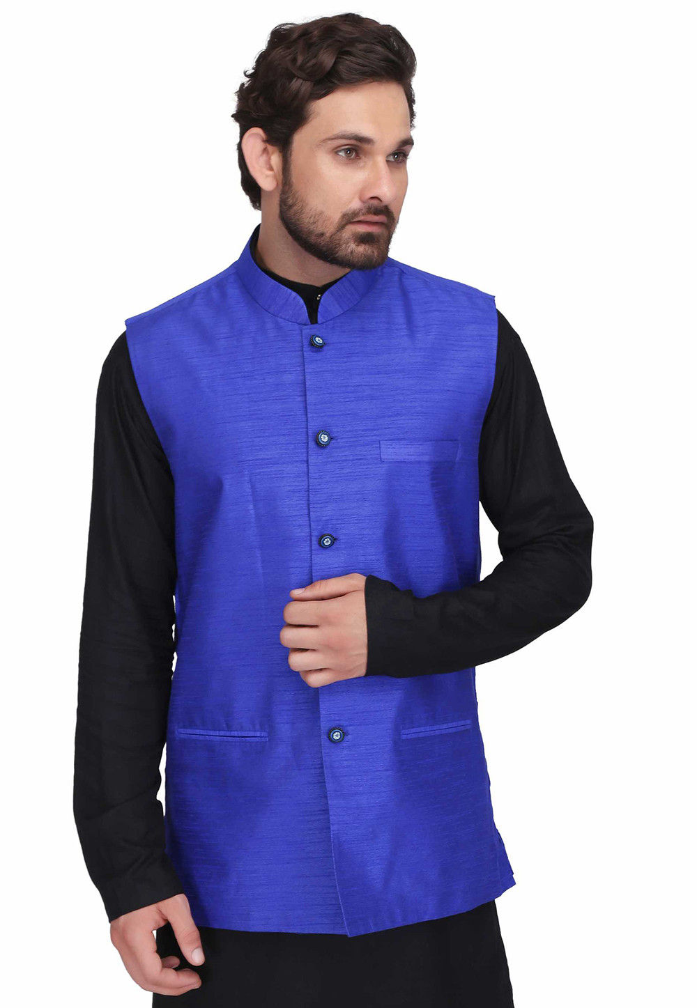 Solid Color Dupion Silk Nehru Jacket in Indigo Blue