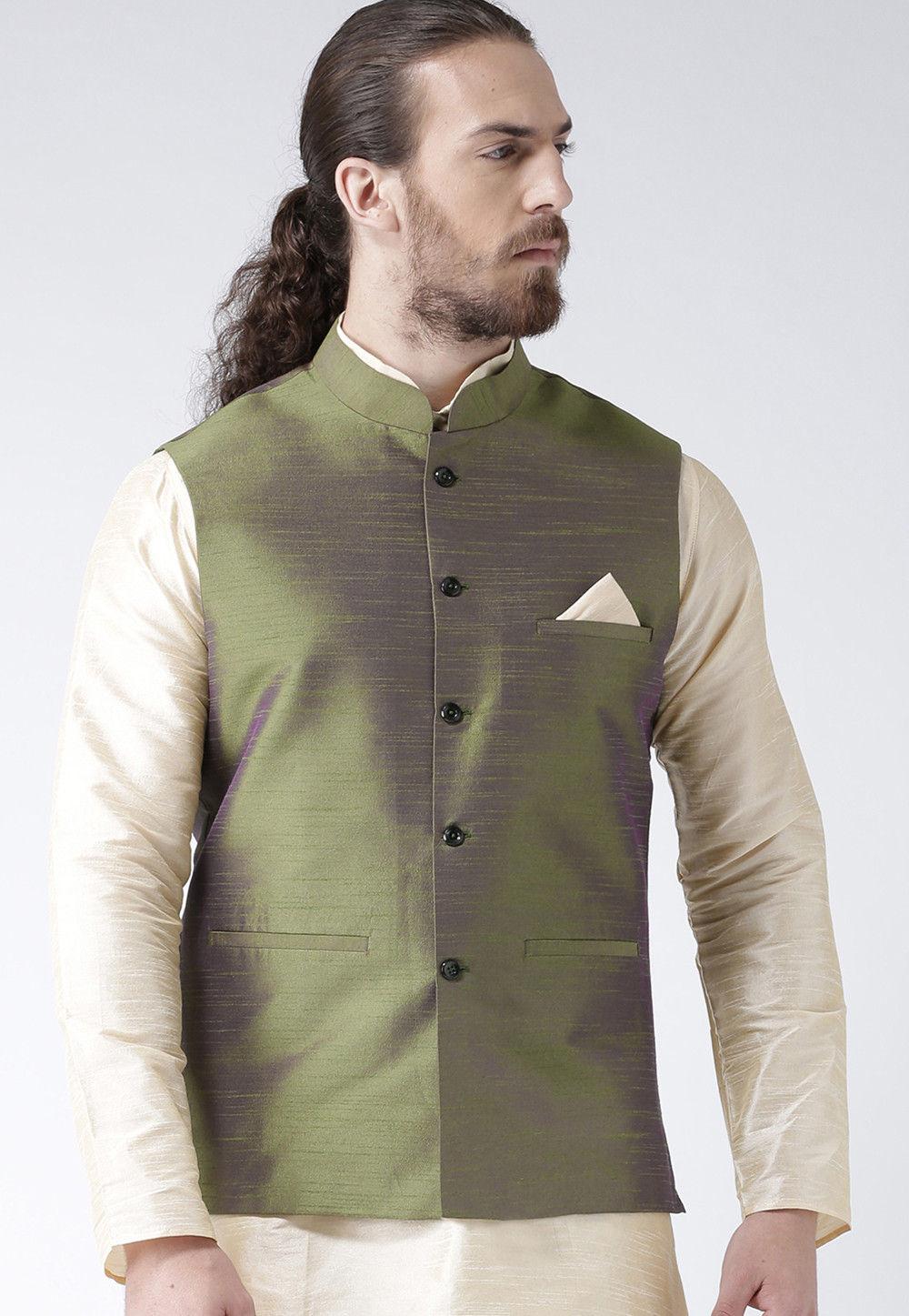 a1f6eaf30cb Solid Color Dupion Silk Nehru Jacket in Olive Green : MHT46