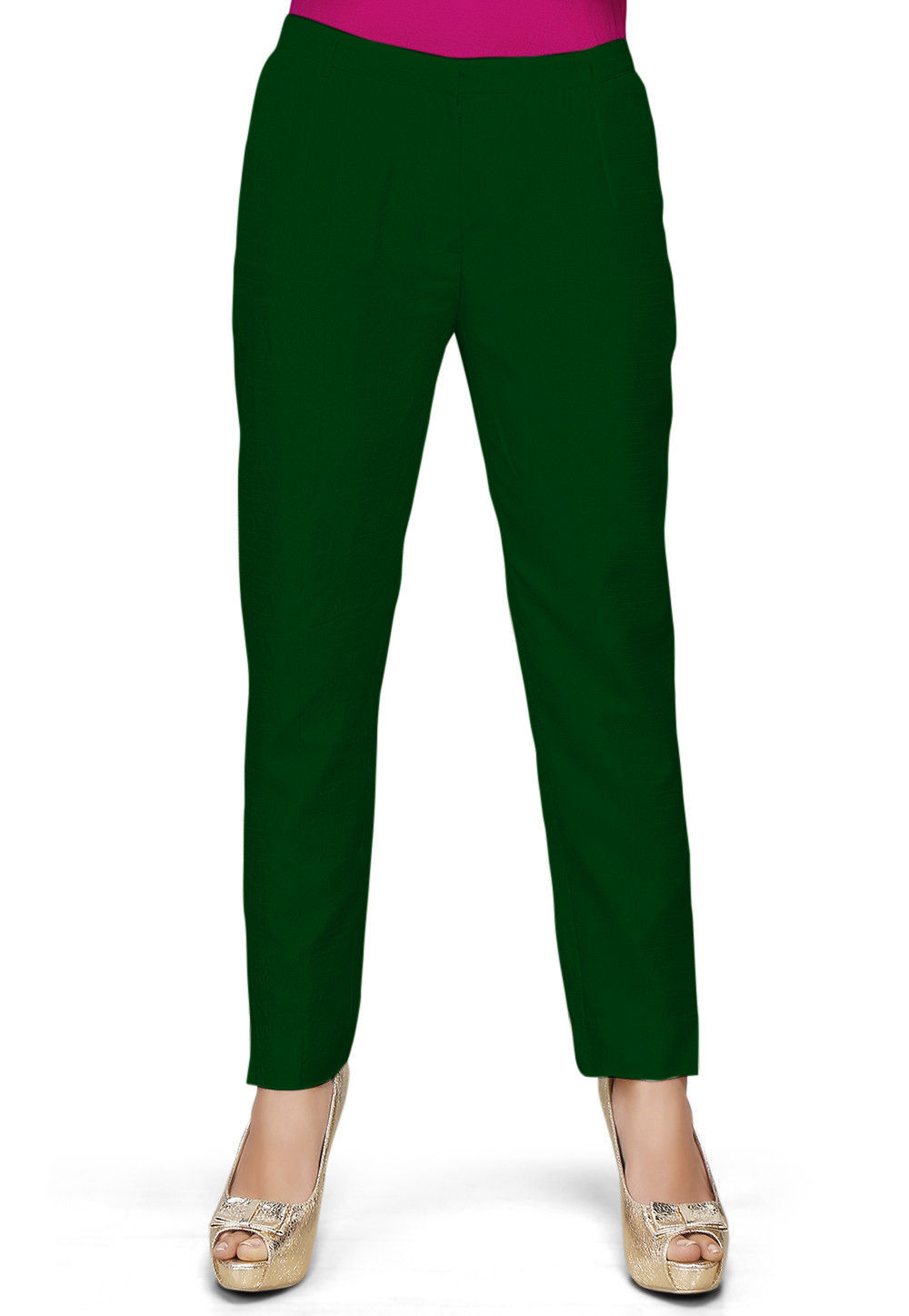 Solid Color Dupion Silk Pant in Dark Green