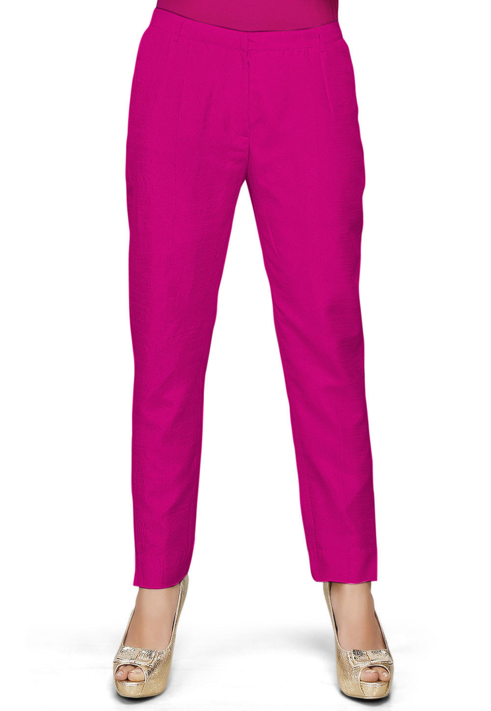 Solid Color Dupion Silk Pant in Fuchsia