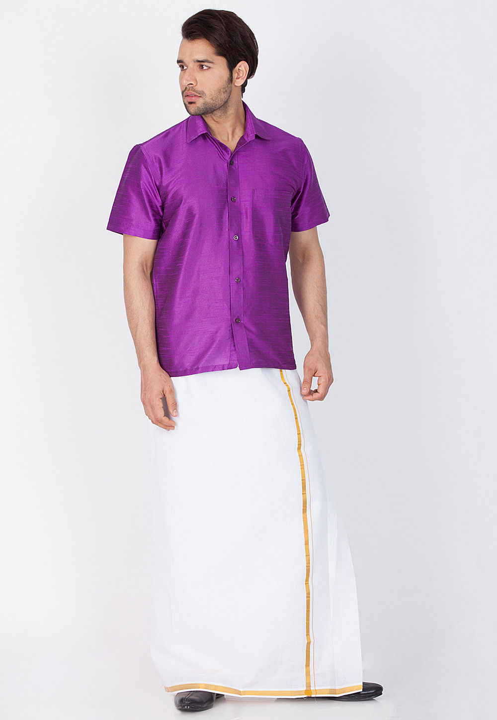 Solid Color Dupion Silk Shirt In Purple Mtr523