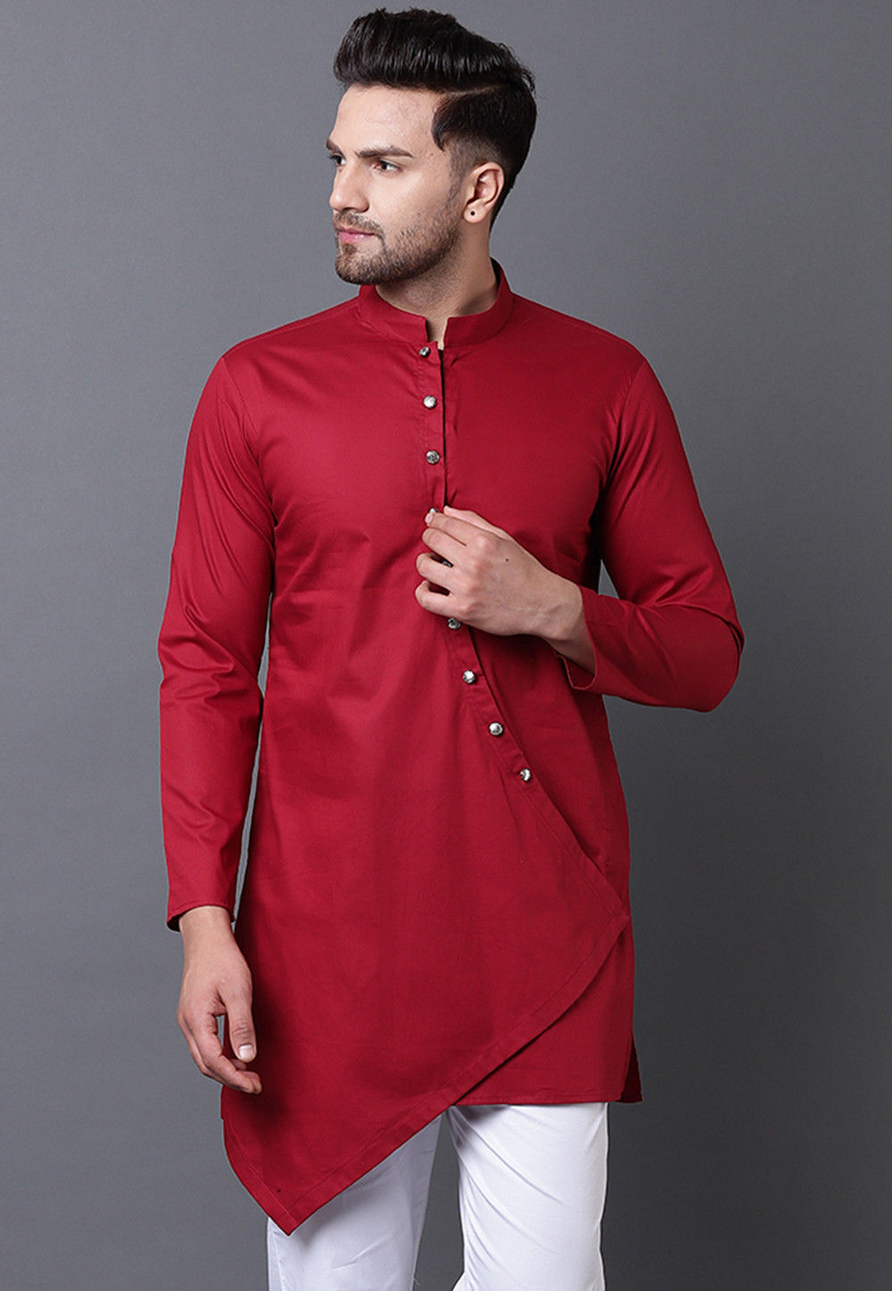 Solid Color Pure Cotton Asymmetric Kurta In Maroon Mkq296