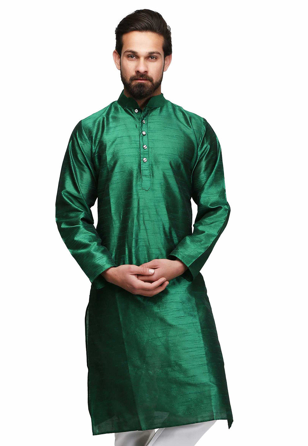 Solid Color Raw Silk Kurta in Dark Green