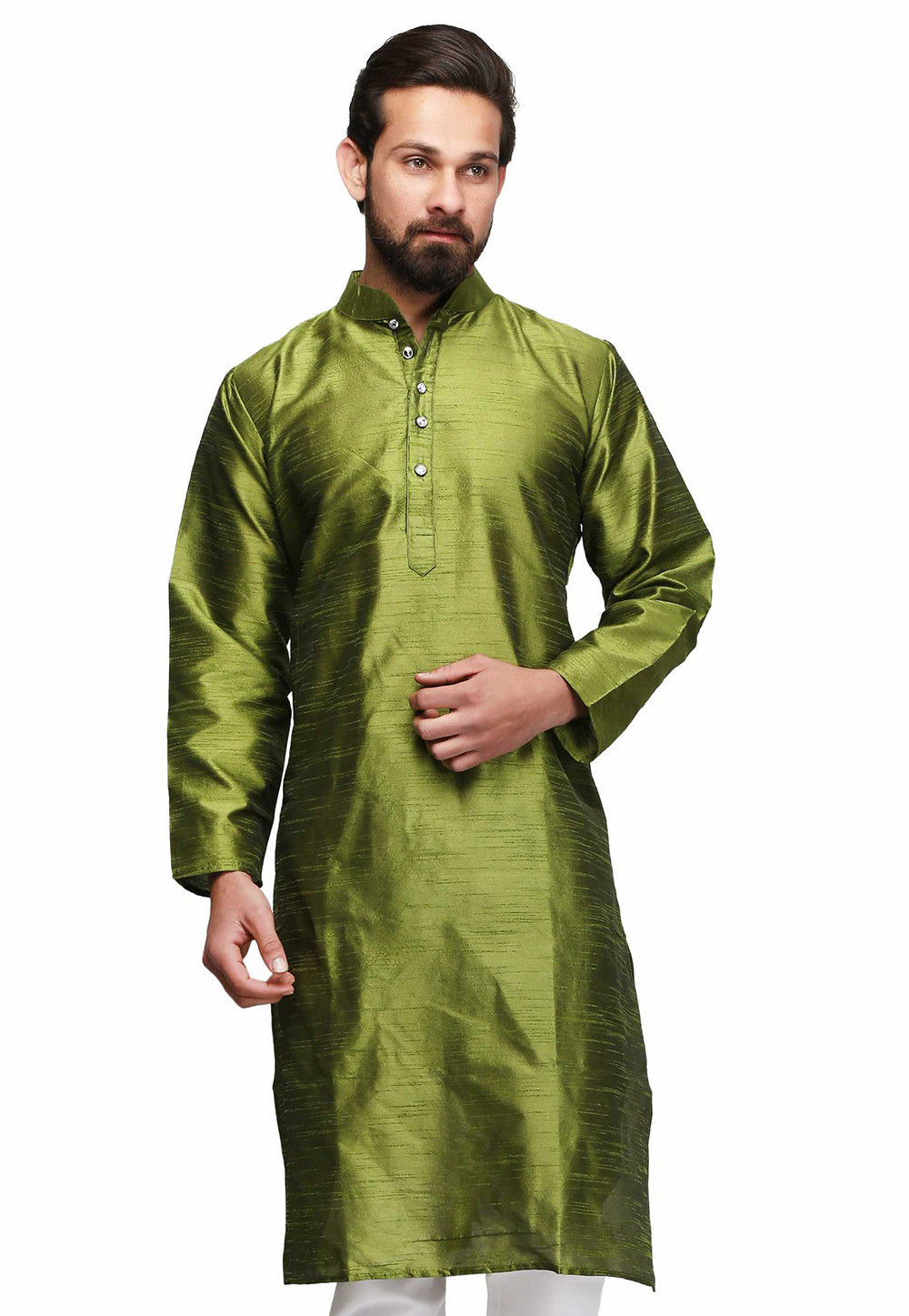 Solid Color Raw Silk Kurta in Olive Green