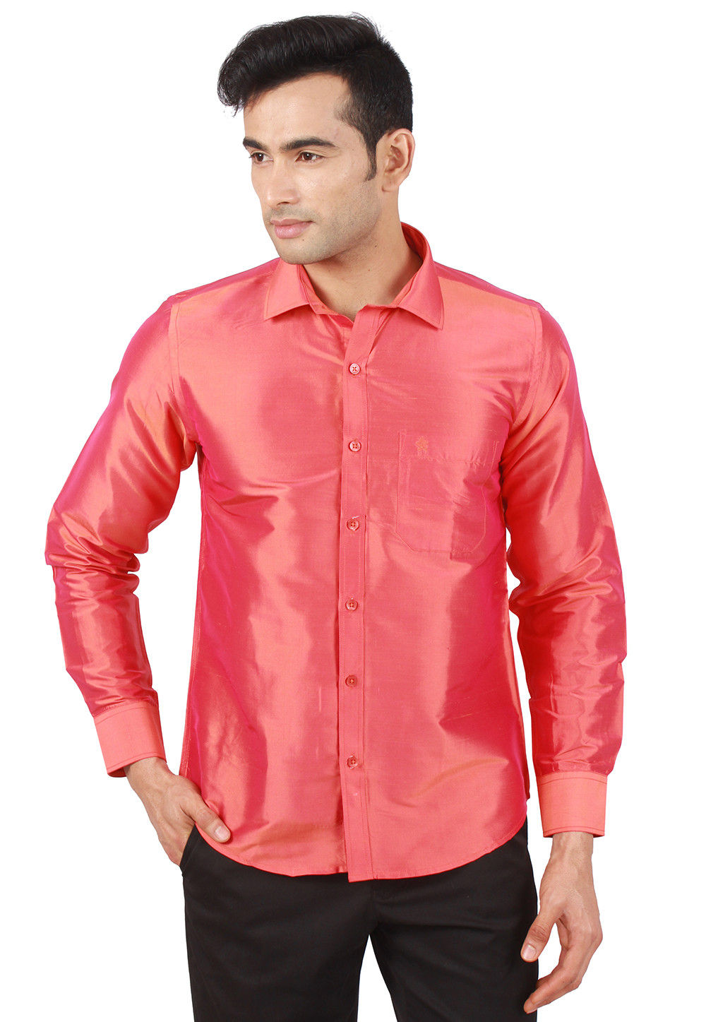 Solid Color Raw Silk Shirt In Coral Pink Mxt21