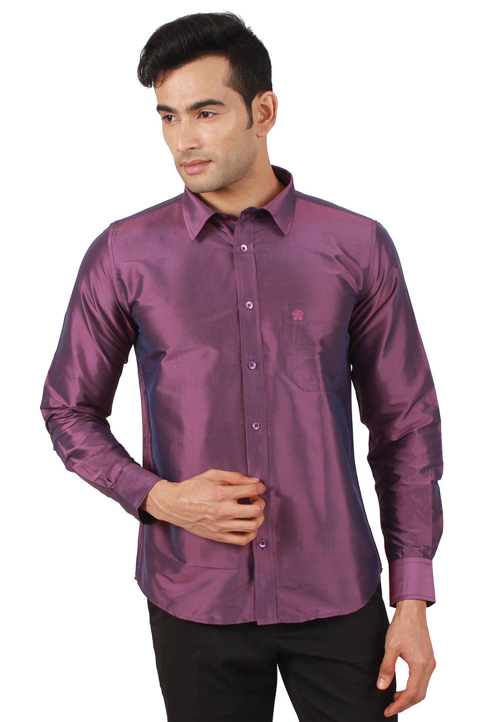 Solid Color Raw Silk Shirt In Purple Mxt11