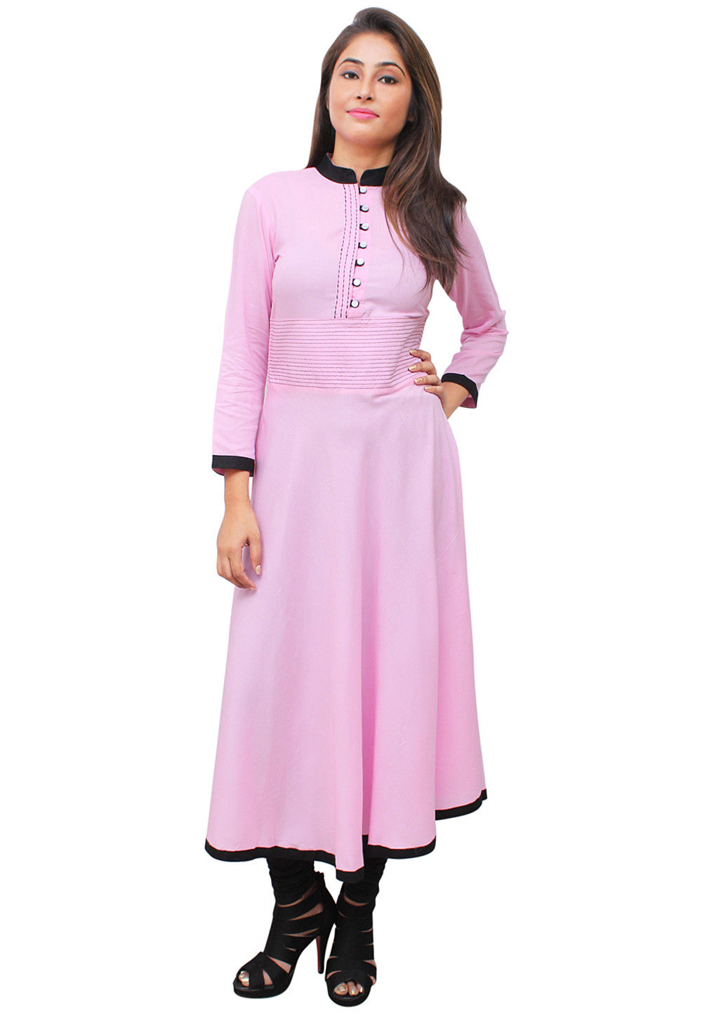 Solid Color Rayon A Line Kurta In Light Pink Zoom