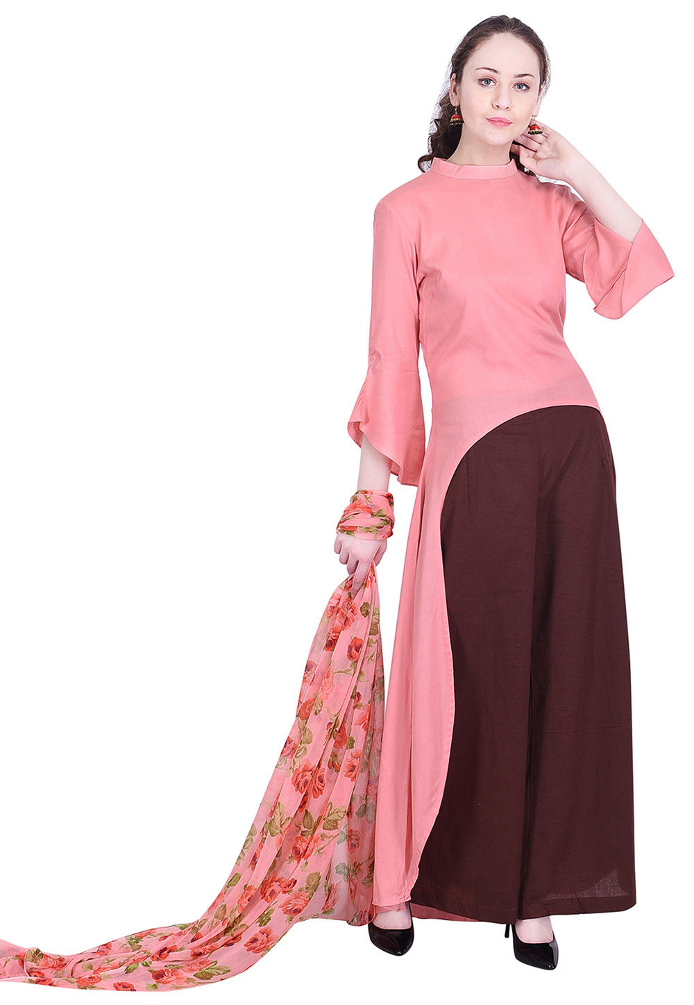 6c640d1176 Solid Color Rayon A Line Suit in Peach : KJN3440