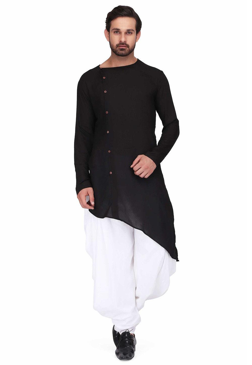 Solid Color Rayon Asymmetric Dhoti Kurta in Black