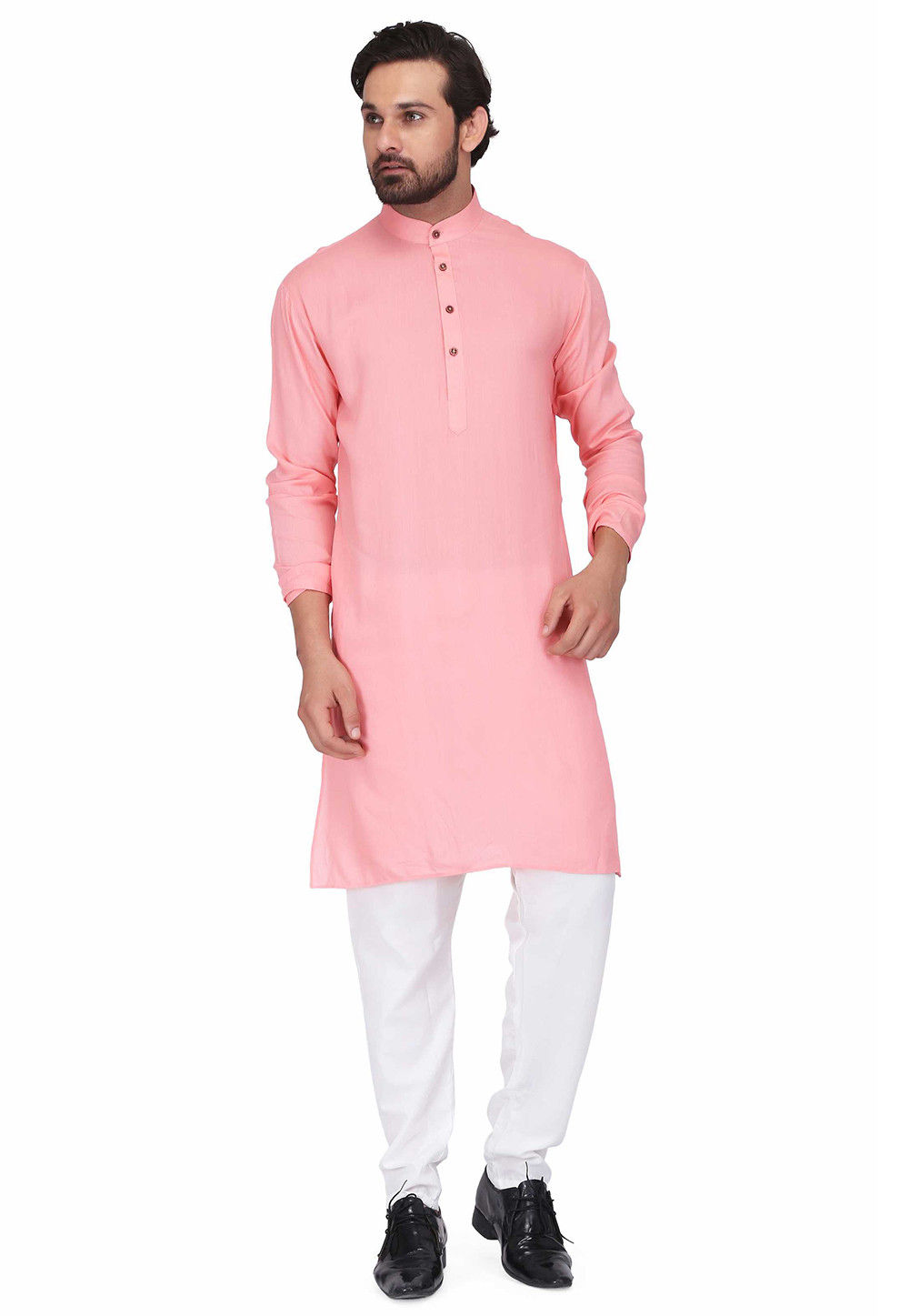 Solid Color Rayon Kurta Set in Pink