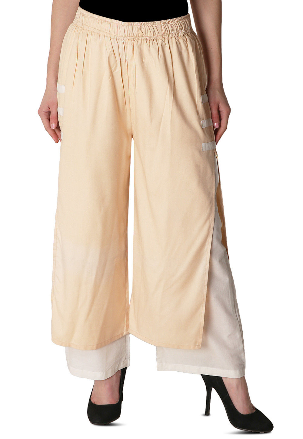 Solid Color Rayon Layered Pant in Beige