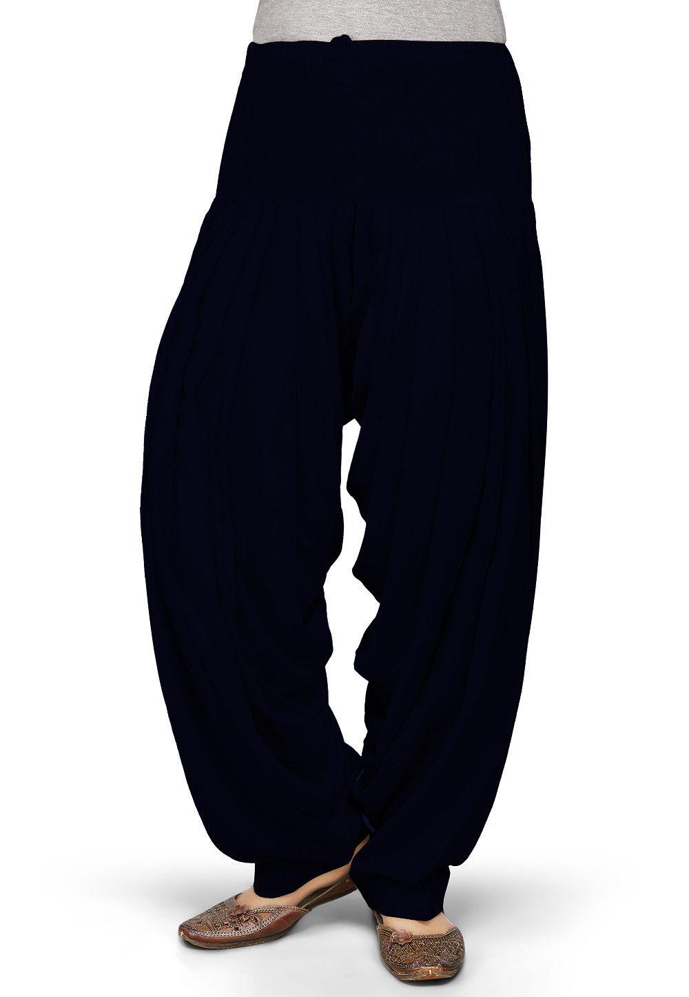 Solid Color Rayon Patiala in Black