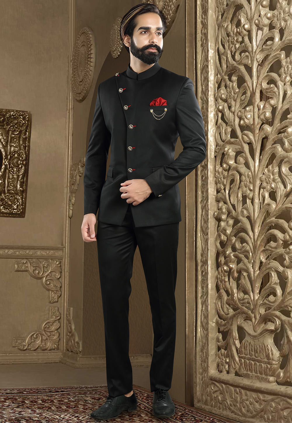 Solid Color Terry Rayon Jodhpuri Suit In Black Mhg970