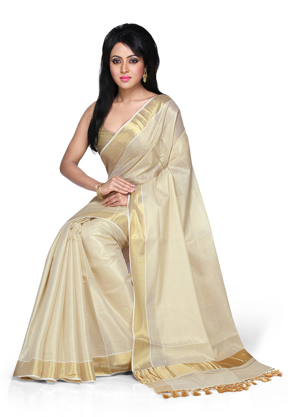 Pure Kerala Kasavu Cotton Saree in Cream