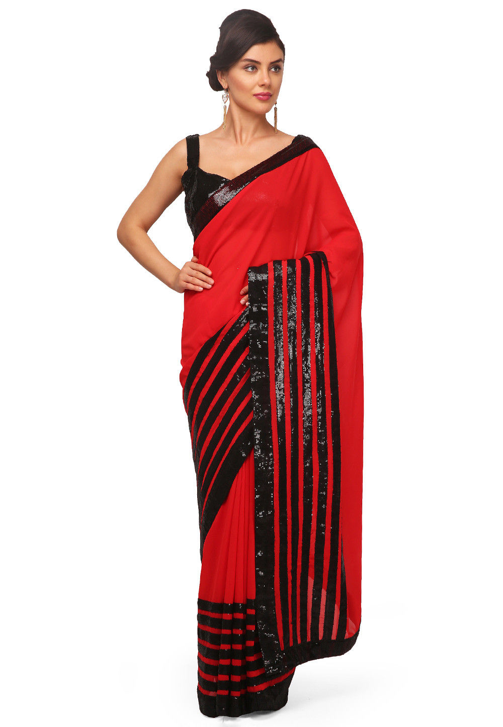 Patch Border Georgette Saree in Red
