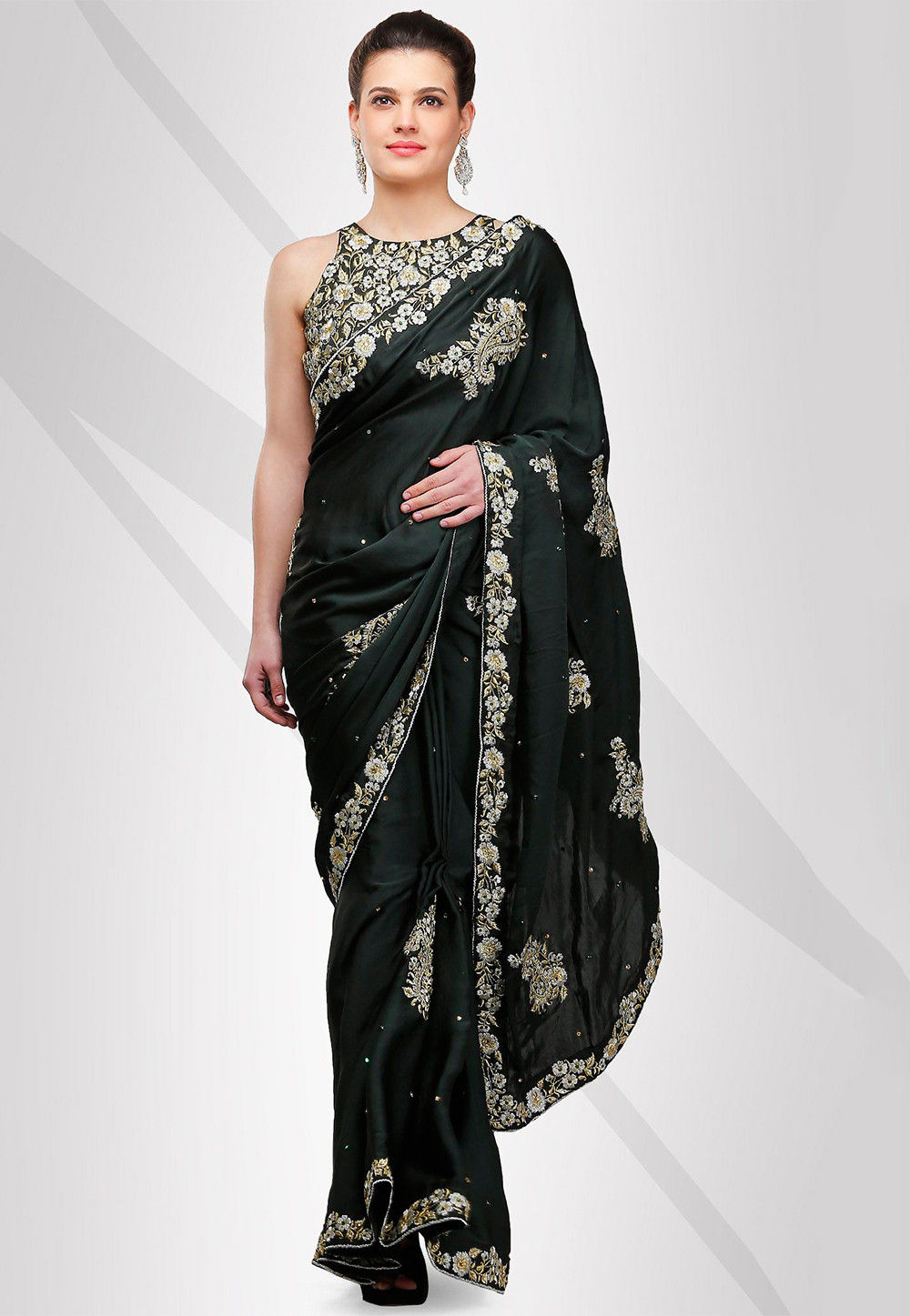 Embroidered Satin Saree in Dark Green