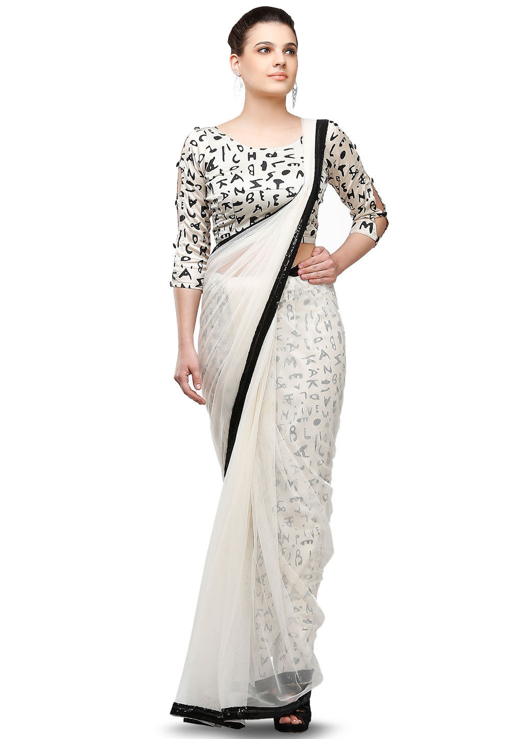 Plain Net Saree in White
