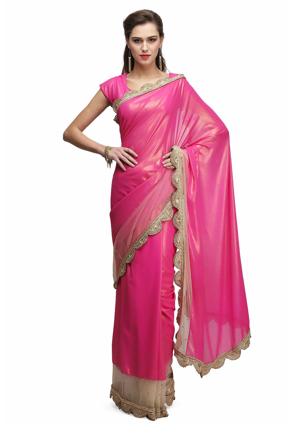Contrast Border Georgette Shimmer Saree in Fuchsia