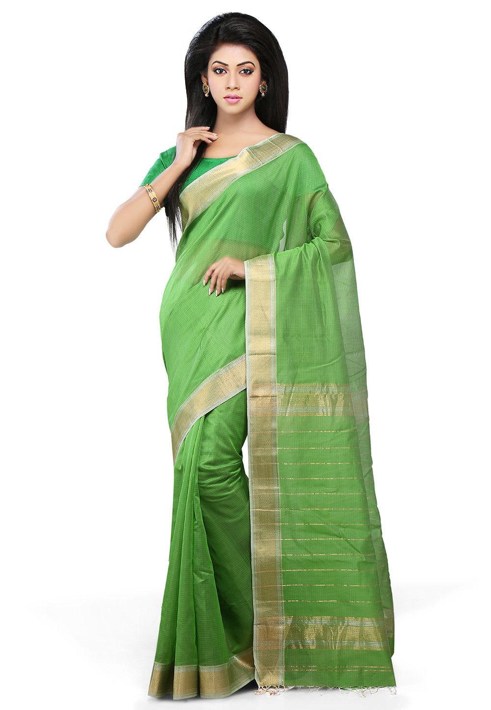 Woven Cotton Silk Saree in Neon Green