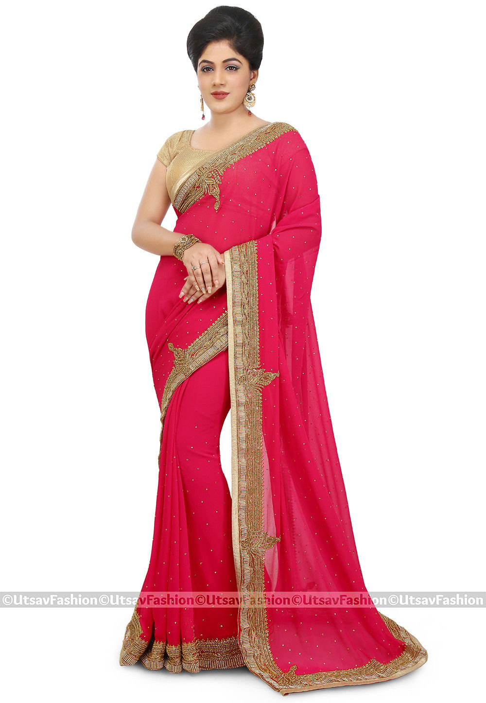 Embroidered Georgette Saree in Fuchsia