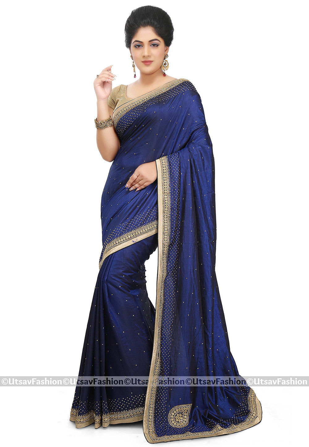 Embellished Art Silk Saree in Dark Blue