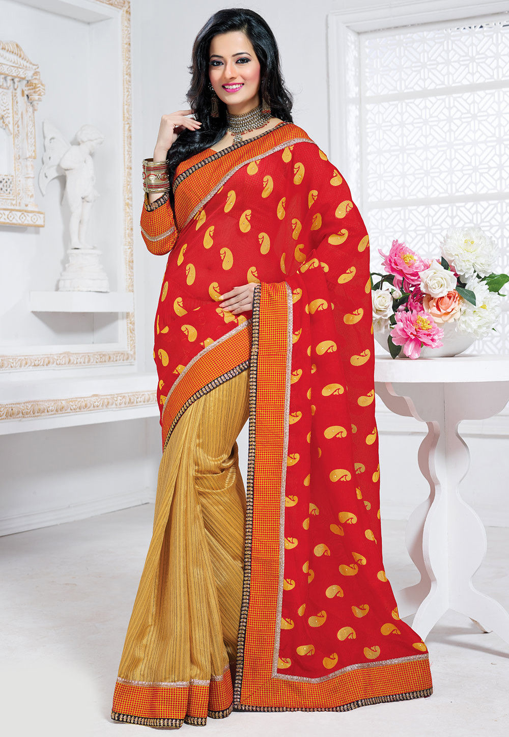 Half N Half Art Silk and Net Saree in Red and Beige