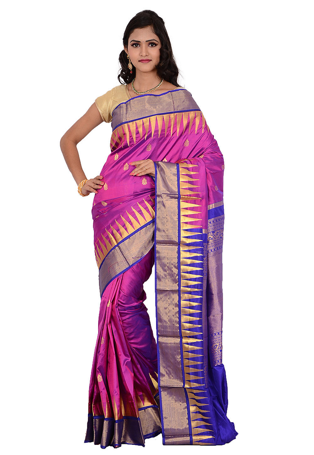 Kanchipuram Pure Silk Saree in Fuchsia