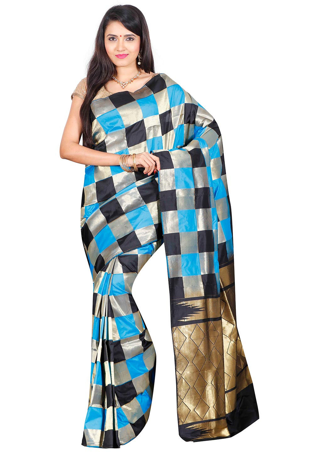 Kanchipuram Pure Silk Saree in Black and Blue