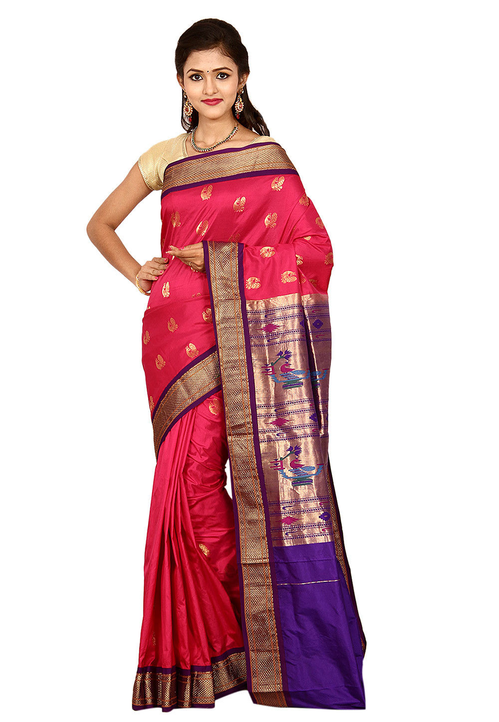 Pure Silk Paithani Saree in Coral Pink