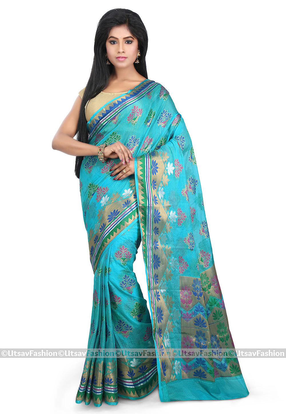 Woven Kota Silk Saree in Sky Blue