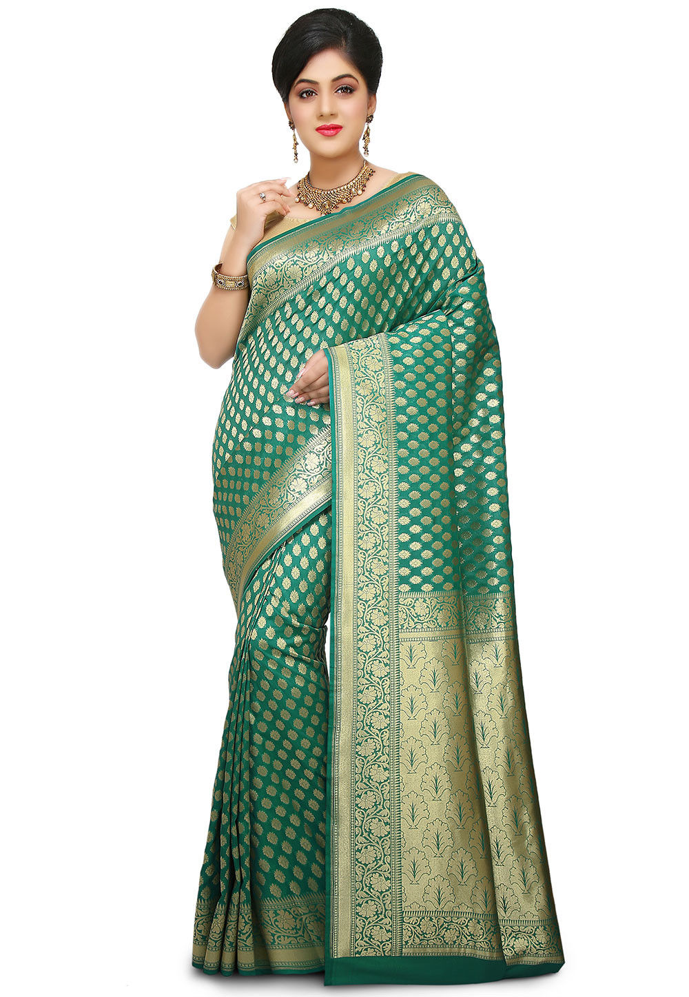bb4f9641bd Banarasi Saree in Teal Green : STEA531