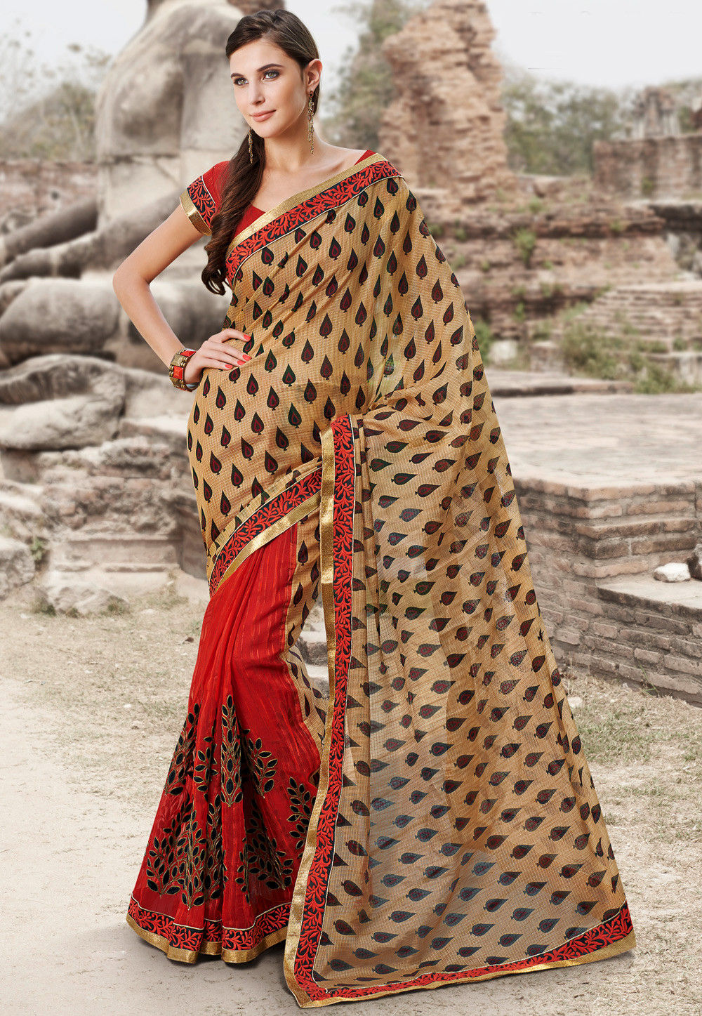 Half N Half Super Net Saree in Beige and Red