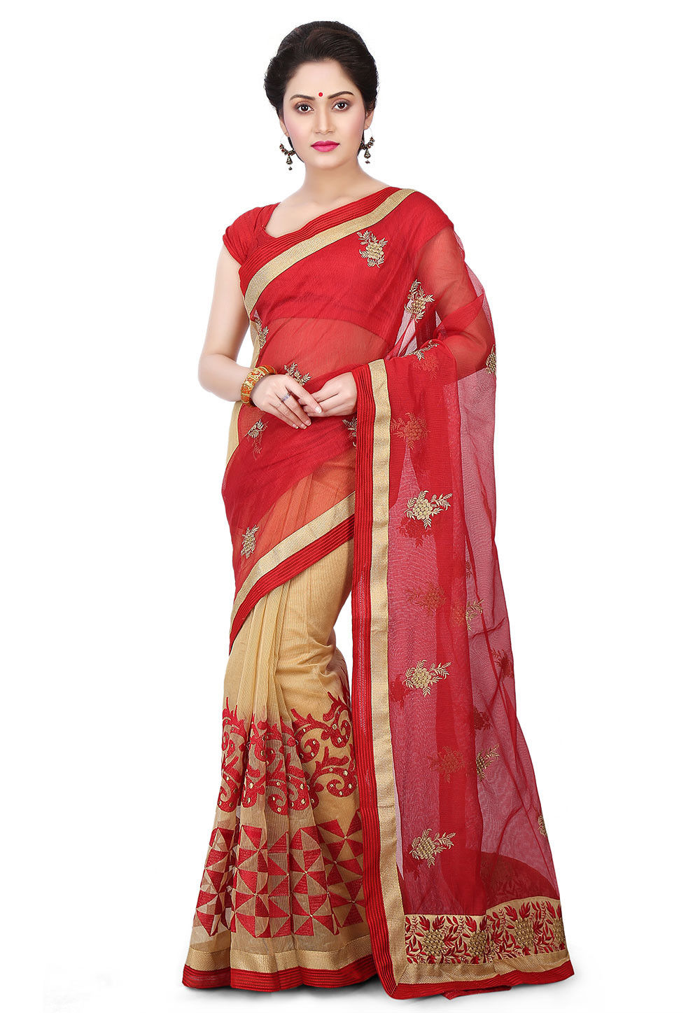 Half N Half Embroidered Supernet Saree in Red and Beige