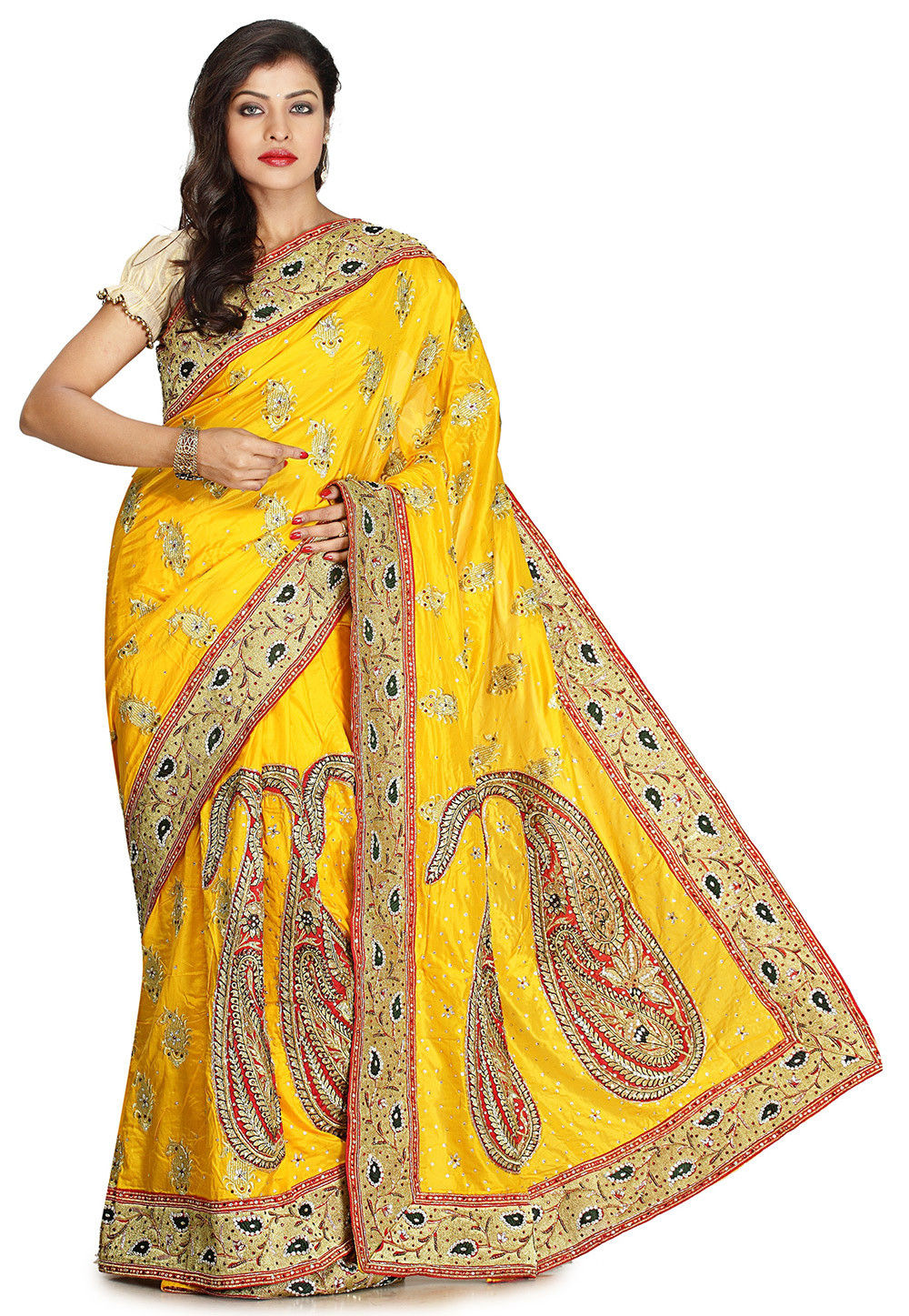 Pure Silk Hand Embroidered Saree in Yellow