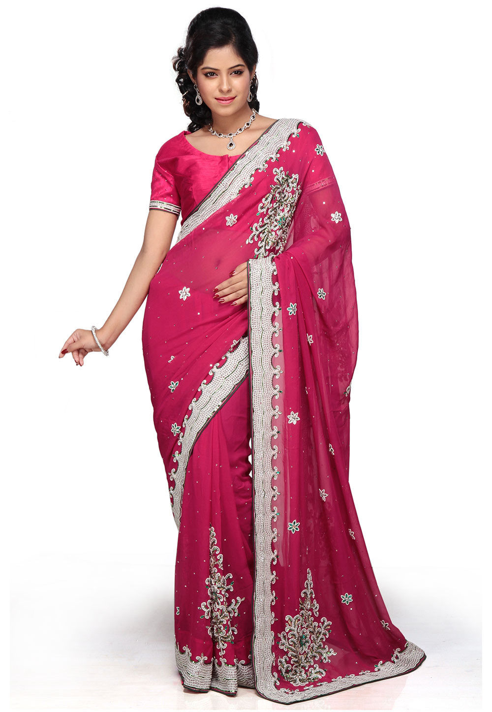 Hand Embroidered Pure Georgette Saree in Fuchsia