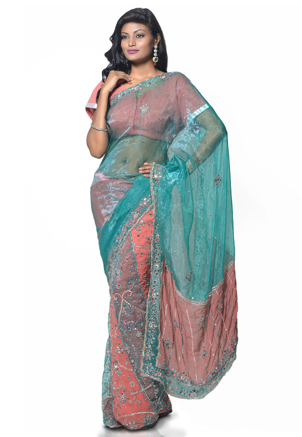 Lehenga Style Tissue Saree Peach and Turquoise