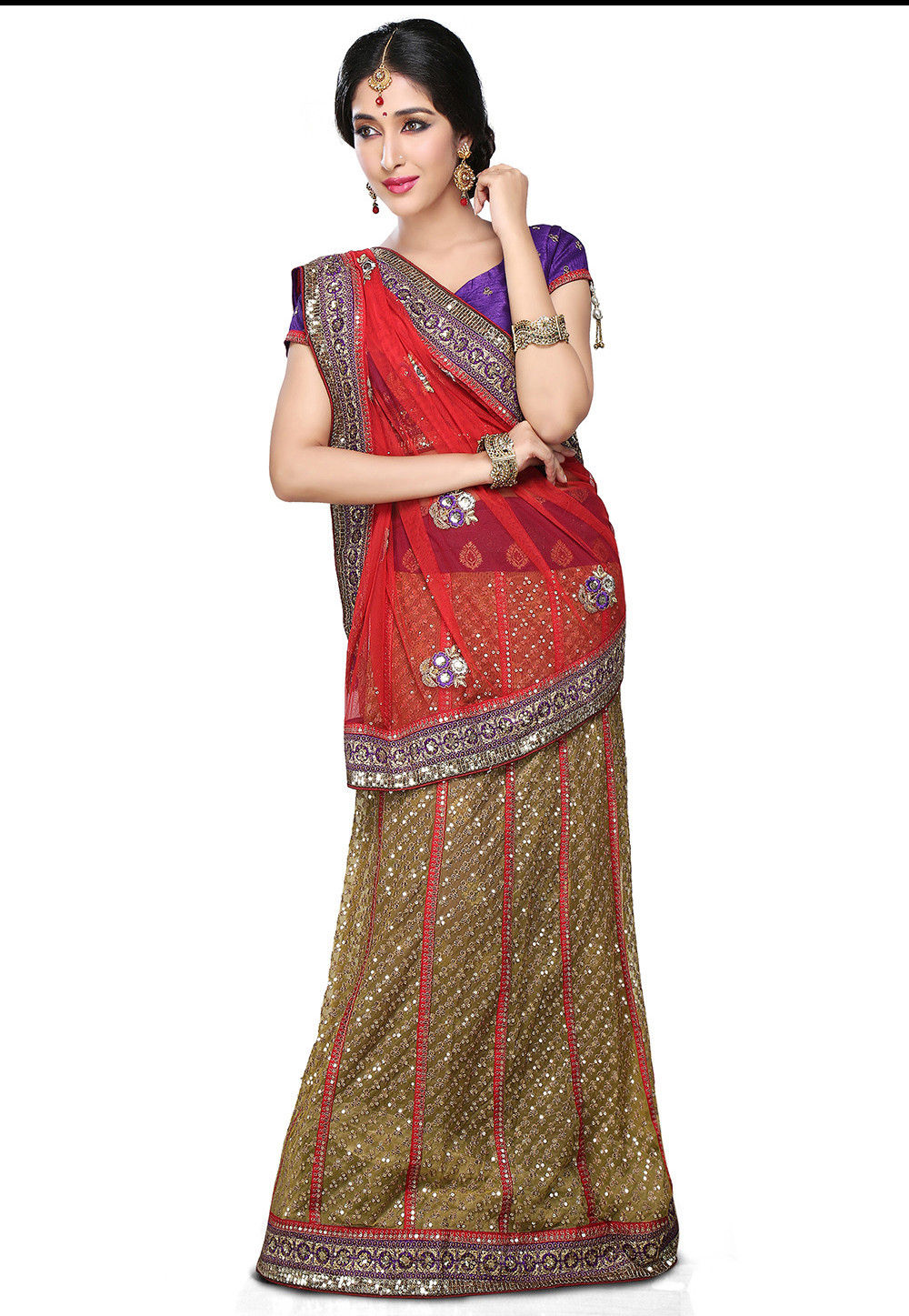 Lehenga Style Net Saree In Red And Beige Suf5554