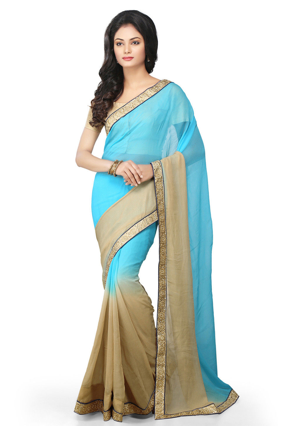 Ombre Georgette Saree in Blue and Beige