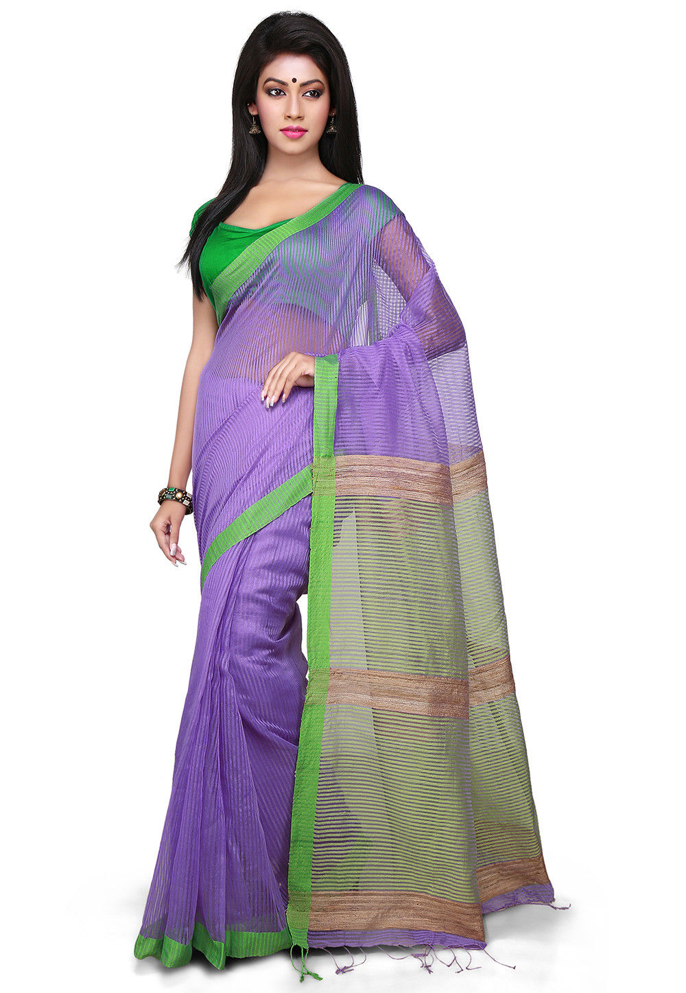 Woven Cotton Silk Saree In Purple