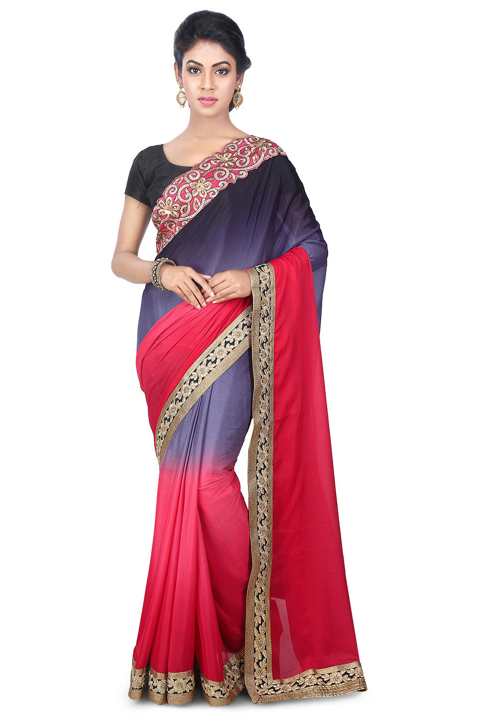 Plain Satin Chiffon Saree in Grey and Coral
