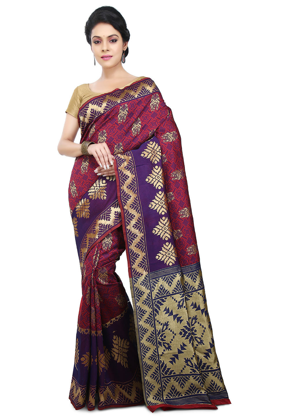 Woven Brocade Silk Saree in Red