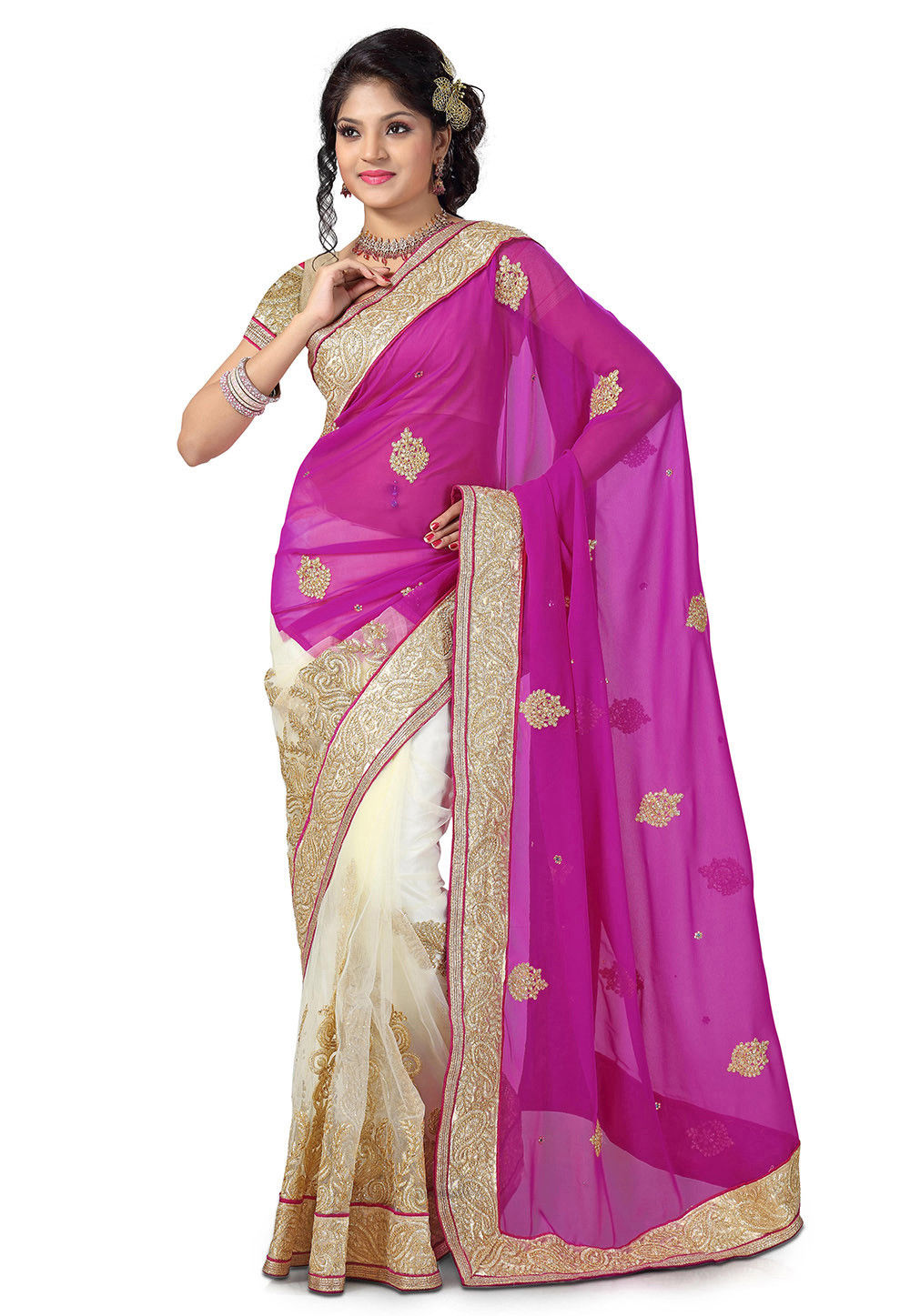 Half N Half Georgette and Net Saree in Fuchsia and Off White