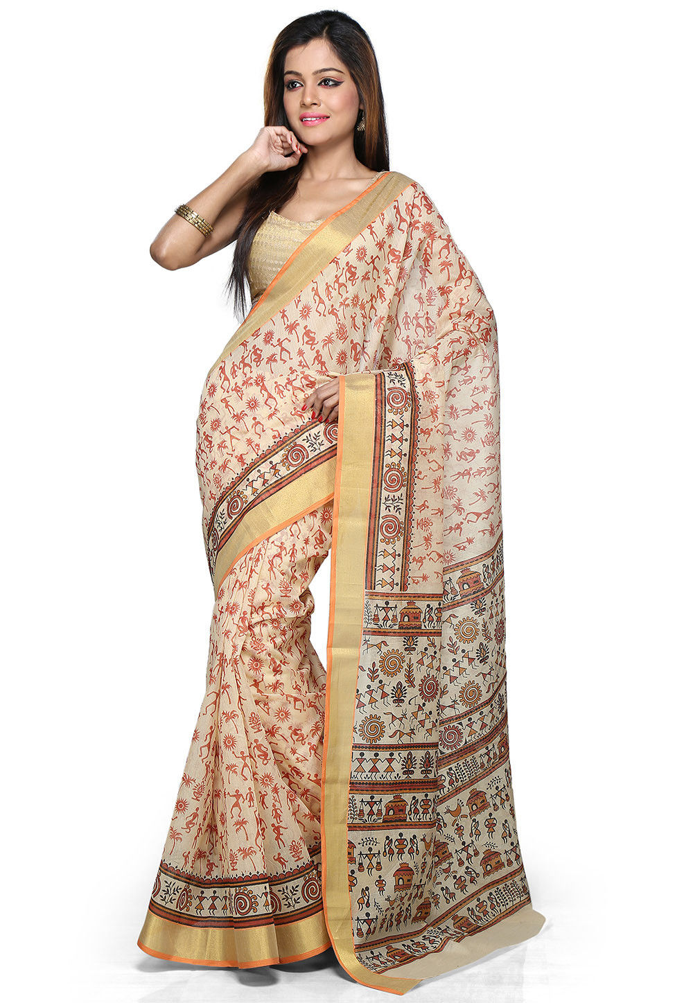 Printed Cotton Silk Saree in Beige